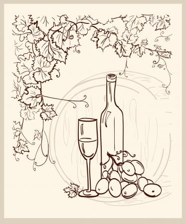 vine bottle: Hand drawn vineyard with a bottle of wine  Illustration