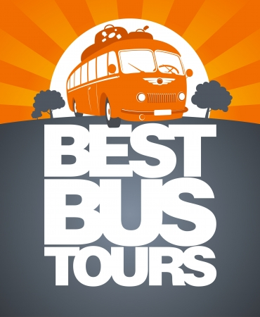 funny travel: Best bus tours design template with retro bus.