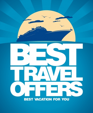 ocean liner: Best travel offers advertising design template.