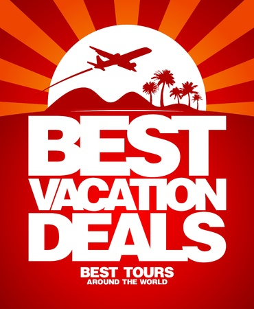 luxury travel: Best vacation deals advertising design template.