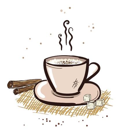 Cappuccino mug with cinnamon and sugar. Vector
