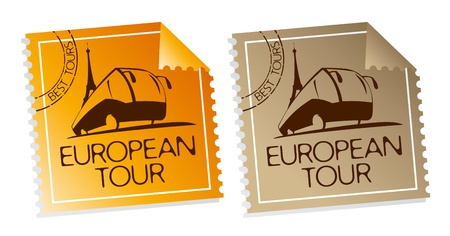 best travel destinations: European tour tickets. Illustration