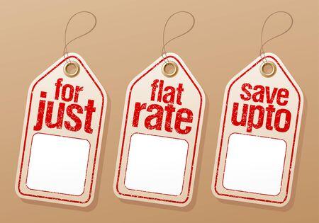 etiquetas de ropa: Venta etiquetas de la etiqueta con el lugar vacío para el precio. Vectores