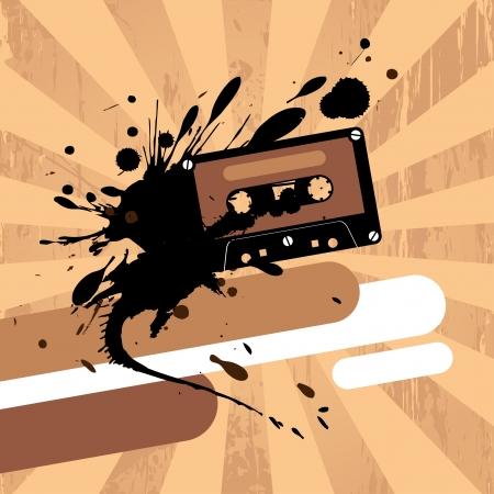 cintas: Grunge plantilla de dise�o con cinta de cassette y el lugar para el texto. Vectores