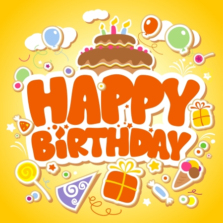 Happy Birthday yellow card illustration. Stock Vector - 14334735