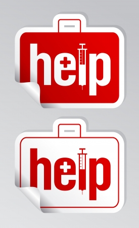 Help, first aid stickers set Stock Vector - 14341071
