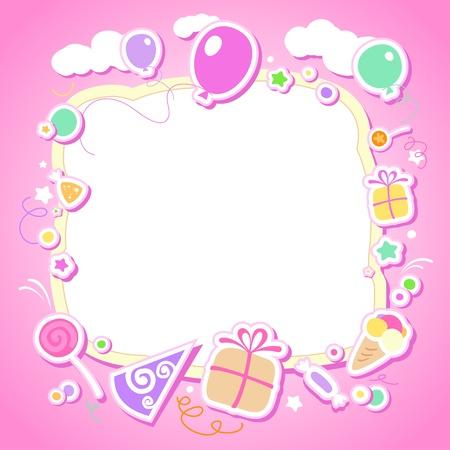 cartoon frame: Modello per album di foto del bambino o cartolina.