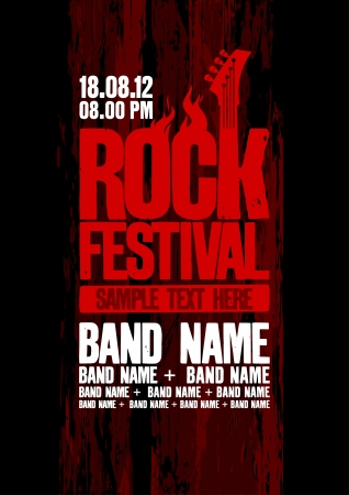 Rock festival design template with bass guitar and place for text. Vector
