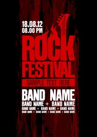 gitara: Rockowy projekt szablon festiwal z gitarą basową i miejsce na tekst. Ilustracja