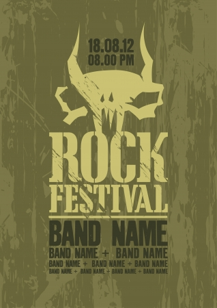 Rock festival design template with cow scull and place for text. Vector