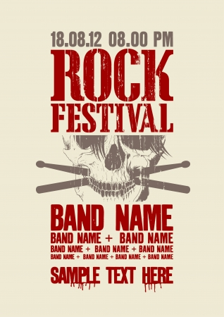 Rock festival design template with scull and place for text. Vector