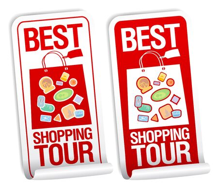 Best shopping tour stickers set. Stock Vector - 14334725