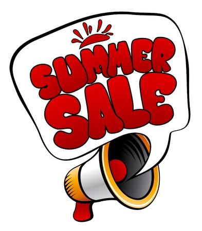 Summer Sale speech bubble with loudspeaker. Vector