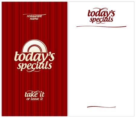 Hoy en día `s Menú Tarjeta de plantilla de diseño.