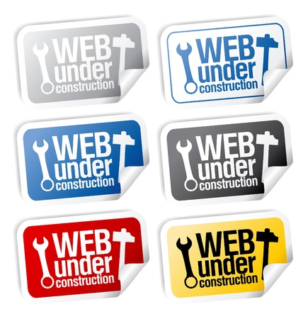 Web under construction stickers mega pack. Vector