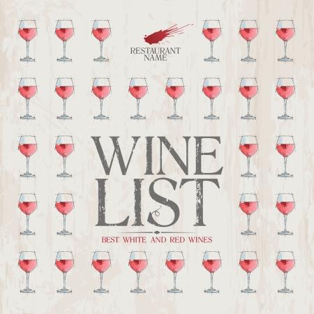 glass wine: Wine List Menu Card Design template. Illustration