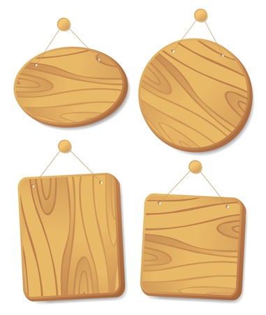 Wooden boards collection hanging on a cord with a nail. Stock Vector - 14334726