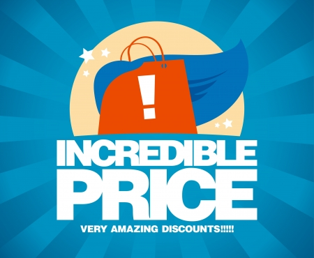 Incredible price, sale design template with shopping bag as a superhero. Vector