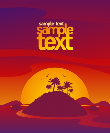 amazing wallpaper: Landscape design template with sunset tropical view and place for text.