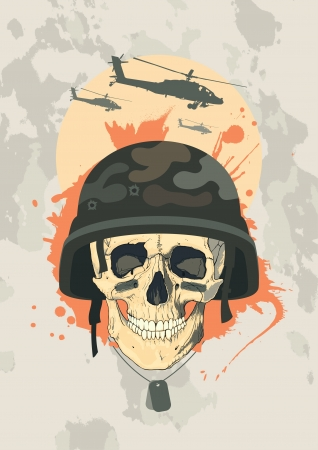 military helmet: Military design template with human skull. Illustration