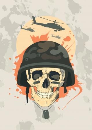 Wojskowy szablon z ludzkiej czaszki. Ilustracja