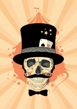 Circo plantilla de diseño con el cráneo mago. Ilustración de vector