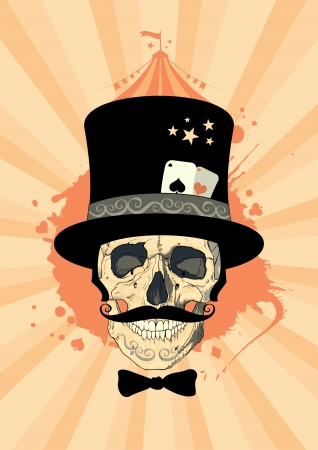 sorcerer: Circus design template with magician skull. Illustration