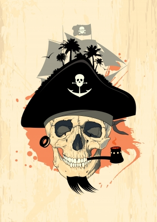Pirate design template with ghost skull. Illustration