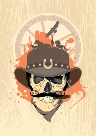 cowboy on horse: West design template with cowboy skull.