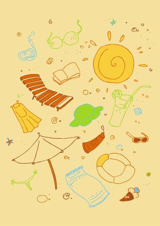Vector illustraition of cartoon beach symbols, hand drawn design set  Vector