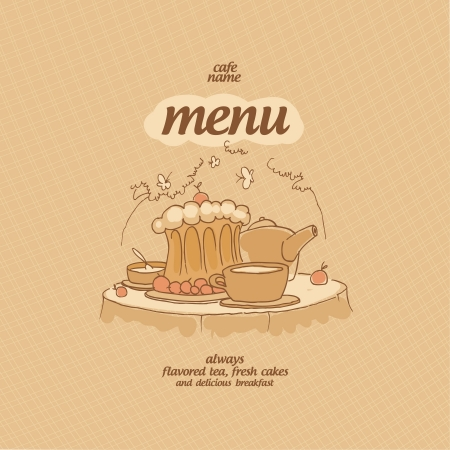 cartoon cake: Cafe Menu Card Design template