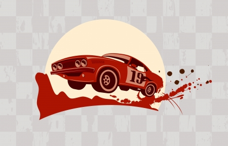 Racing design template with retro sports car