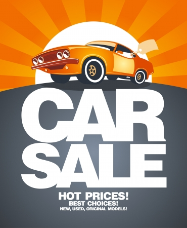 car dealers: Car sale design template with retro car