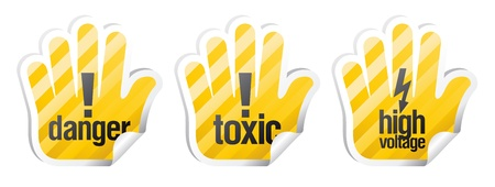 Set of warning vector signs in form of palm Stock Vector - 14445596