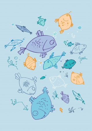 illustraition of cartoon fishes, hand drawn design set  Vector