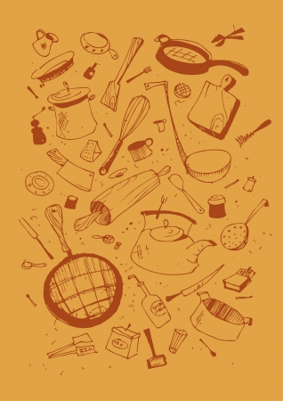 cooking utensils: Vector illustraition of kitchen utensil Illustration