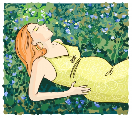 Beautiful pregnant woman relaxing on grass, vector illustration