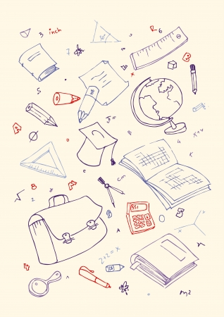 Vector illustraition of school subjects, hand drawn design set