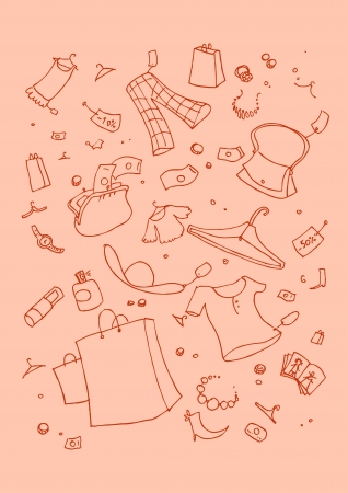 illustraition: illustraition of shopping symbols, hand drawn design set