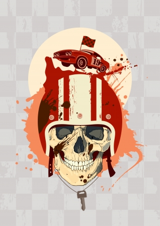 racing wheel: Racing design template with racer skull  Illustration