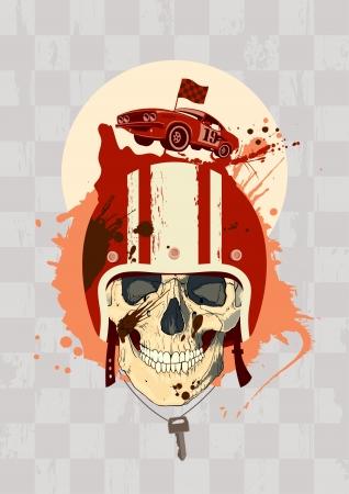 calavera caricatura: Racing plantilla de dise�o con el cr�neo piloto