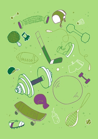 Vector illustraition of sports accessories, hand drawn design set  Vector