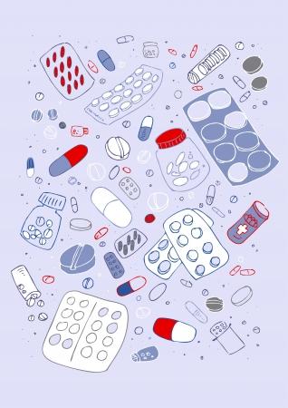 醫療保健: 各種藥丸矢量illustraition,手繪設計集
