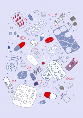 illustraition: Vector illustraition of various pills, hand drawn design set