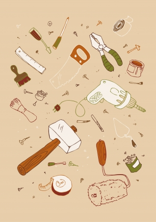 illustraition: Vector illustraition of tools, hand drawn design set