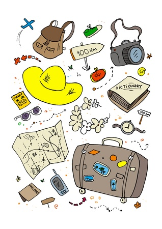 Cartoon beach symbols, hand drawn design template  Vector