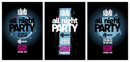 All Night Party design templates set with place for text  Vector