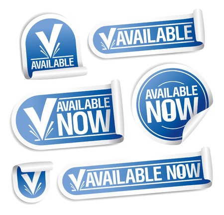 Available now stickers set  Stock Vector - 14755160