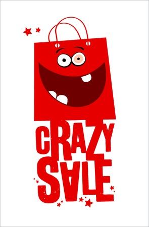 Venta loco con bolsa roja diversión