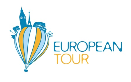 trip travel: European tour vector symbol  Illustration